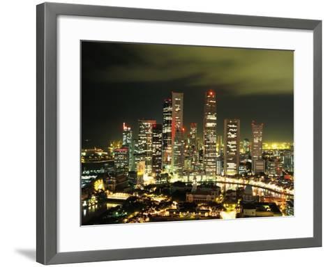 Metropolitan Singapore at Night--Framed Art Print