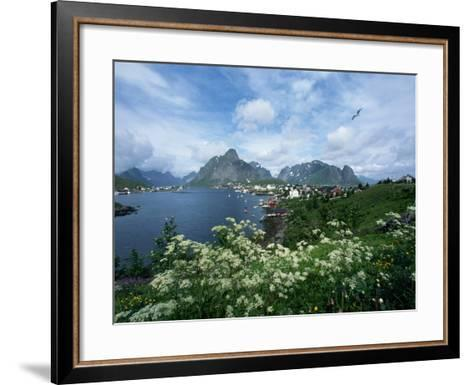 View of Fishing Village and Island-Kevin Schafer-Framed Art Print