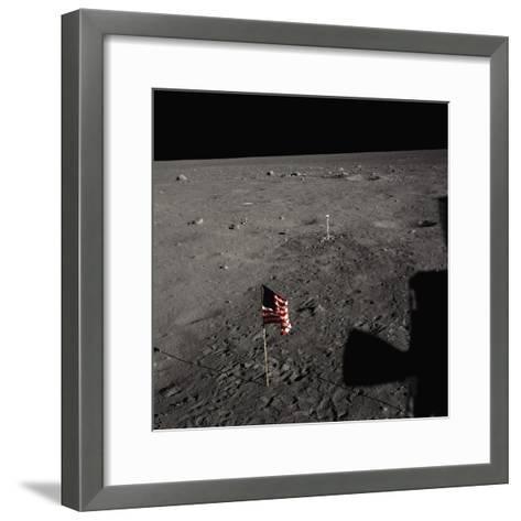American Flag on the Moon--Framed Art Print
