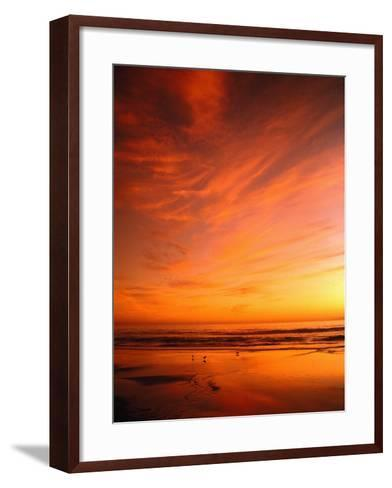 Southern California Sunset at Beach-Mick Roessler-Framed Art Print