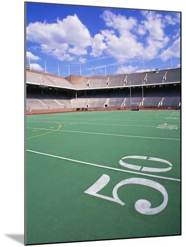 50 Yard Line on Empty Football Field-Alan Schein-Mounted Photographic Print