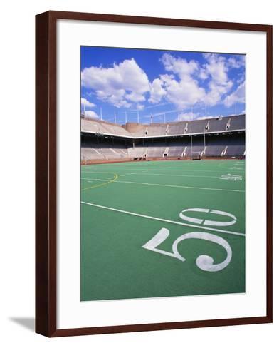 50 Yard Line on Empty Football Field-Alan Schein-Framed Art Print