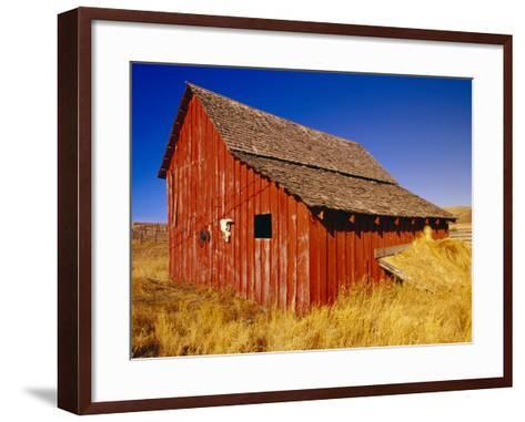Weathered Old Barn on Ranch-Terry Eggers-Framed Art Print