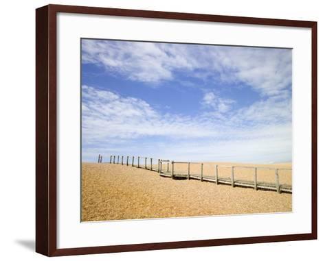 Boardwalk at Chesil Beach in Dorset-Mark Bolton-Framed Art Print