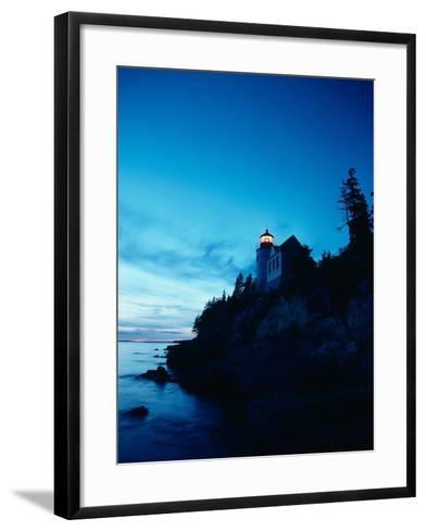 Lighthouse at Dusk-Craig Aurness-Framed Art Print
