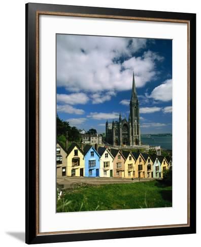 St. Coleman's Cathedral of Cobh Behind Colorful Row Houses-Charles O'Rear-Framed Art Print