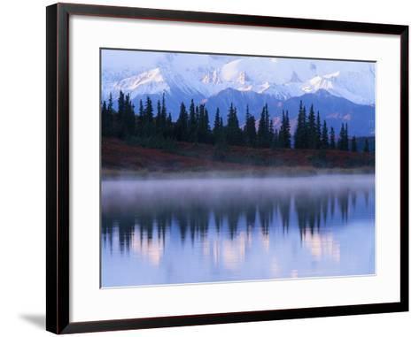 Alaskan Range Reflected in Wonder Lake-Jeff Vanuga-Framed Art Print