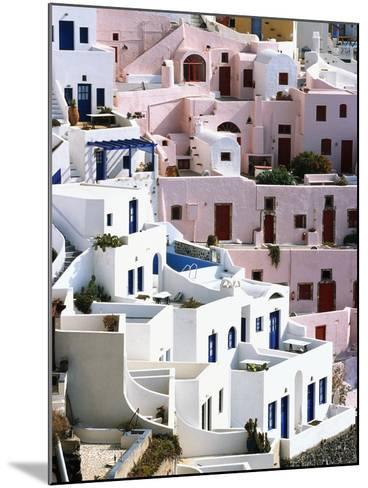 Hillside Buildings on Santorini-Bob Jacobson-Mounted Photographic Print