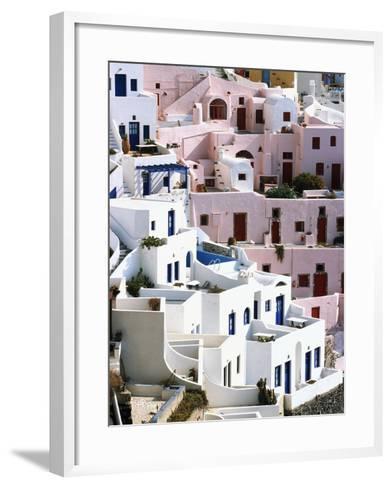 Hillside Buildings on Santorini-Bob Jacobson-Framed Art Print