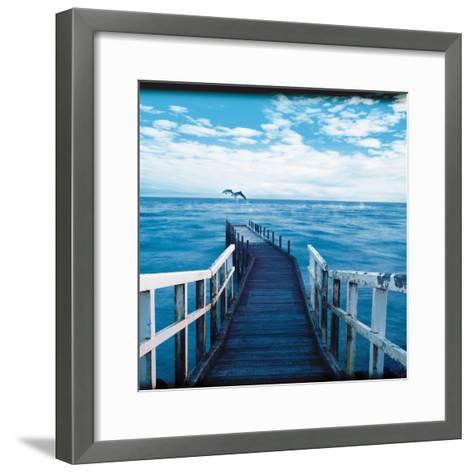 Pier and Dolphins-Colin Anderson-Framed Art Print