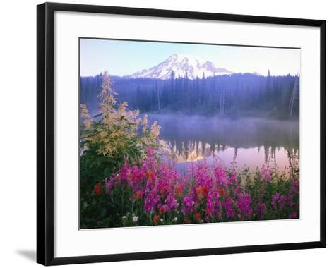 Wildflowers in Bloom by Lake on Mount Rainier-Craig Tuttle-Framed Art Print