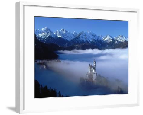 Neuschwanstein Castle Surrounded in Fog-Ray Juno-Framed Art Print