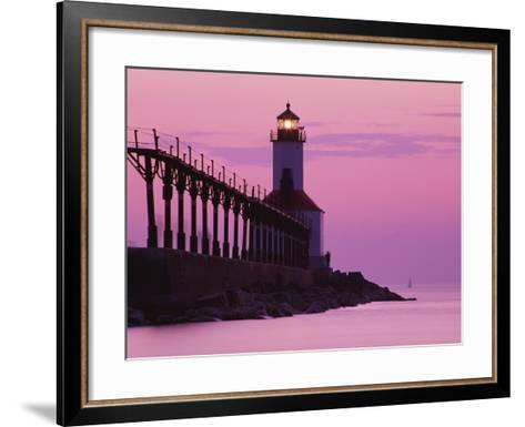 Michigan City Lighthouse at Sunset-Richard Cummins-Framed Art Print