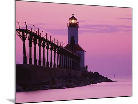 Michigan City Lighthouse at Sunset-Richard Cummins-Mounted Photographic Print