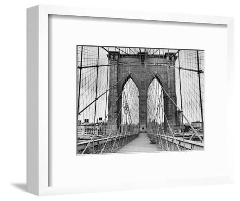 Pedestrian Walkway on the Brooklyn Bridge-Bettmann-Framed Art Print