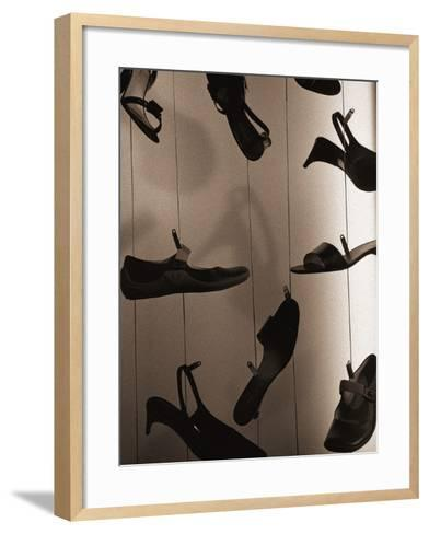 Ladies Shoes Hanging on Wire-Henry Horenstein-Framed Art Print