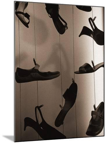 Ladies Shoes Hanging on Wire-Henry Horenstein-Mounted Photographic Print