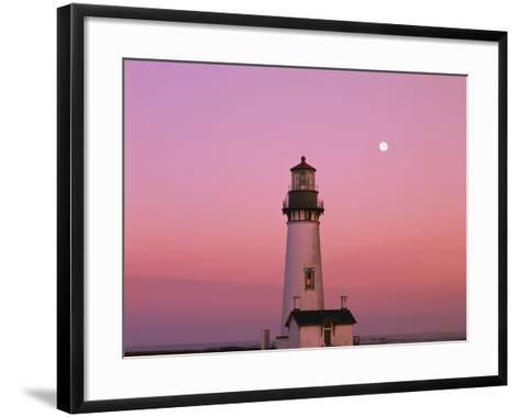 Lighthouse by Beach at Dusk-Craig Tuttle-Framed Art Print