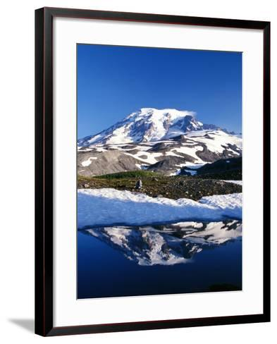 Alpine Lake Reflecting Mt. Rainier-Craig Tuttle-Framed Art Print