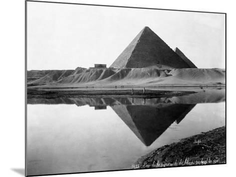 Pyramid of Cheops Reflected in Nile River--Mounted Photographic Print