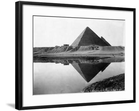 Pyramid of Cheops Reflected in Nile River--Framed Art Print