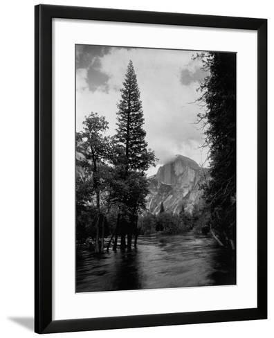 Half Dome Over Merced River--Framed Art Print