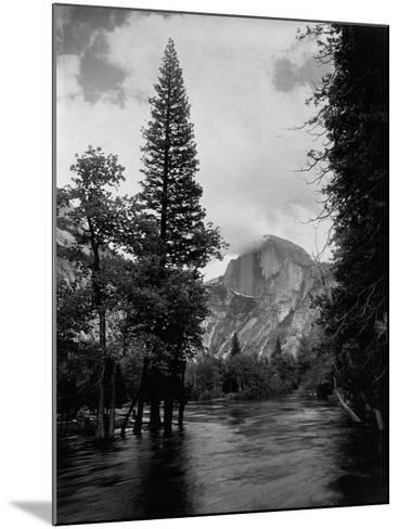Half Dome Over Merced River--Mounted Photographic Print