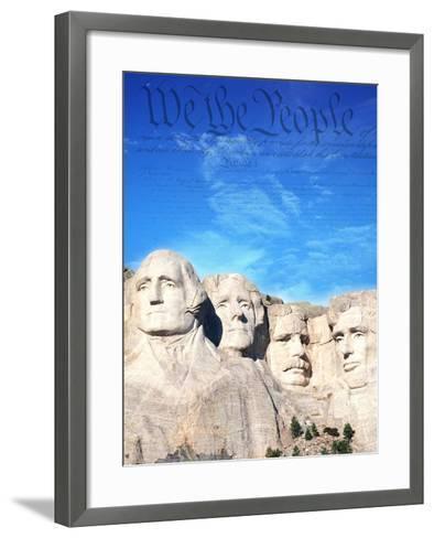 Preamble to US Constitution Above Mount Rushmore-Joseph Sohm-Framed Art Print
