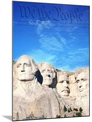 Preamble to US Constitution Above Mount Rushmore-Joseph Sohm-Mounted Photographic Print