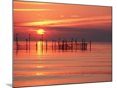 Silhouetted Fishing Net at Sunset-Lowell Georgia-Mounted Photographic Print