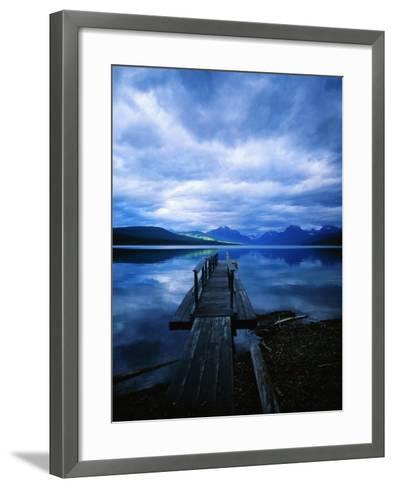 Pier at Lake McDonald Under Clouds-Aaron Horowitz-Framed Art Print