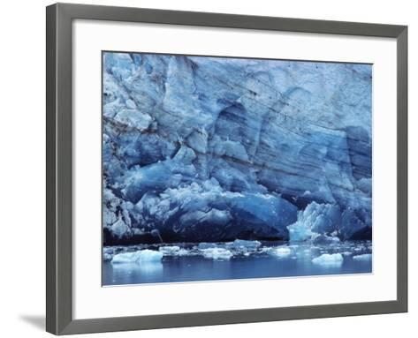 Ice Breaking off Glacier-Mick Roessler-Framed Art Print