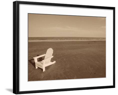 Lone Chair on Empty Beach--Framed Art Print