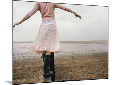 Woman Balancing on a Breakwater--Mounted Photographic Print