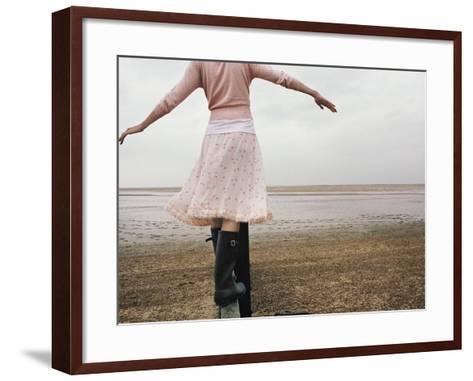 Woman Balancing on a Breakwater--Framed Art Print