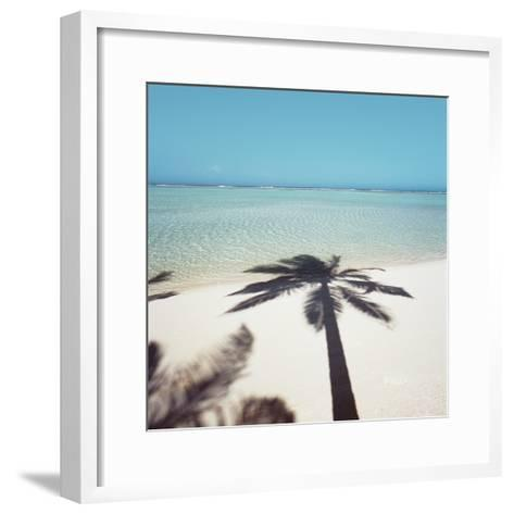 Shadow of Palm Tree on a Beach--Framed Art Print