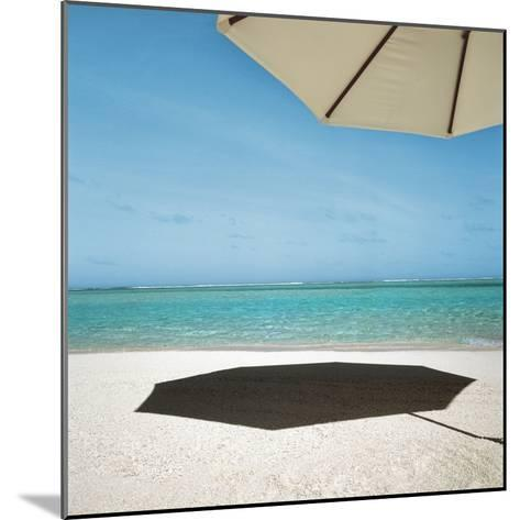 Shadow of Umbrella on the Beach--Mounted Photographic Print