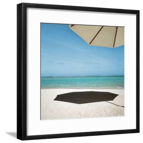 Shadow of Umbrella on the Beach--Framed Art Print