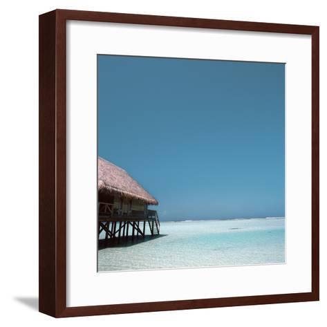 Beach Hut Over Shallow Water--Framed Art Print