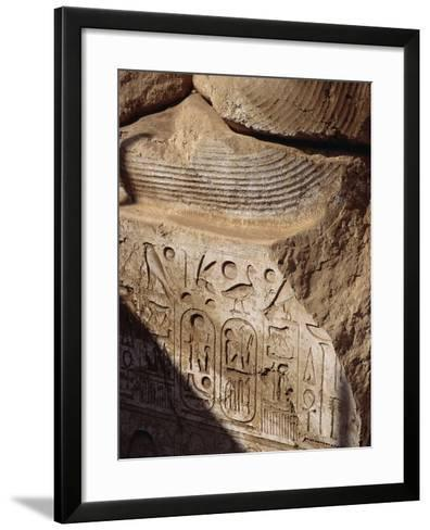 Detail of Heiroglyphics on a Colossi of Ramesses II at Sohag-S^ Vannini-Framed Art Print