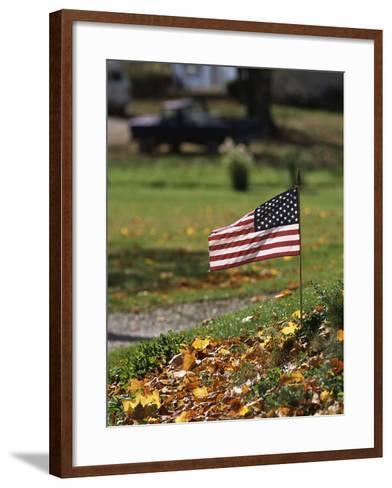 Small American Flag Posted in Yard-Bob Rowan-Framed Art Print