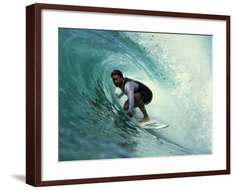 Professional Surfer Riding a Wave-Rick Doyle-Framed Art Print
