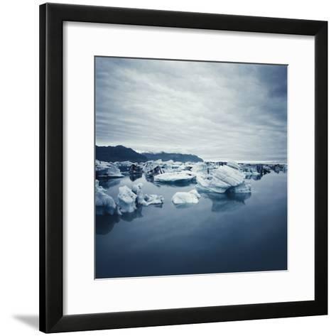 Bergy Bits Under Cloudy Sky--Framed Art Print