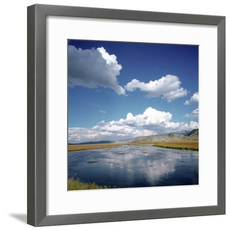 River Running Through Countryside--Framed Art Print