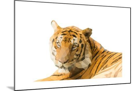 Low Poly Image of Tiger Isolated on White Background with Clipping Path- nantapok-Mounted Art Print