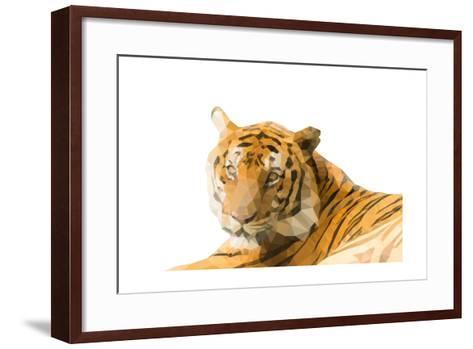 Low Poly Image of Tiger Isolated on White Background with Clipping Path- nantapok-Framed Art Print