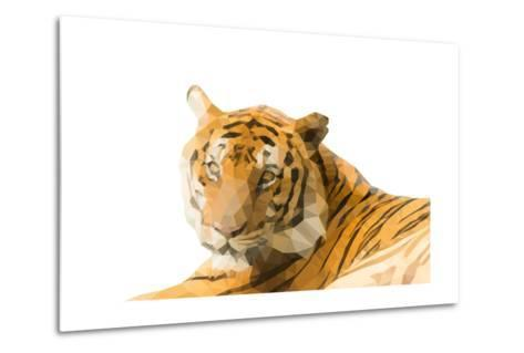 Low Poly Image of Tiger Isolated on White Background with Clipping Path- nantapok-Metal Print