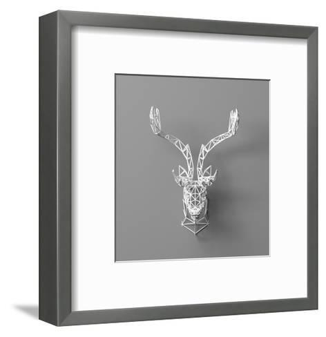 Artificial Deer Head Hanging on the Wall. Polygonal Head of A- whitecityrecords-Framed Art Print