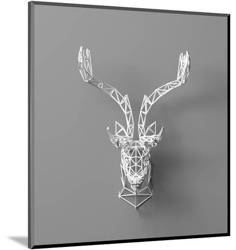 Artificial Deer Head Hanging on the Wall. Polygonal Head of A- whitecityrecords-Mounted Art Print
