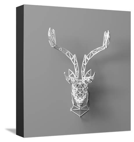 Artificial Deer Head Hanging on the Wall. Polygonal Head of A- whitecityrecords-Stretched Canvas Print